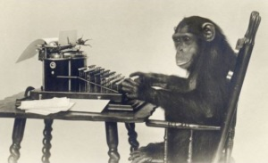 Gibbon at Typewriter