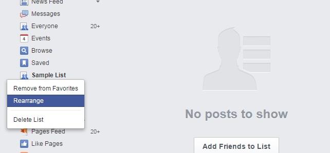 Rearrange Facebook List Position