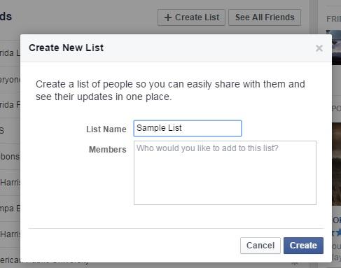 Sample Facebook List Creation